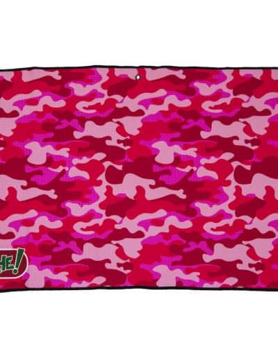 pink camouflage golf towel