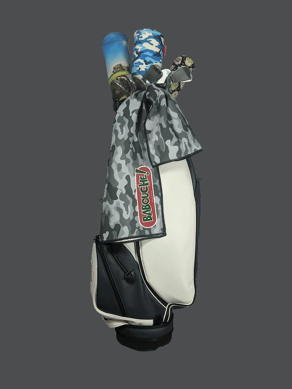 grey camo golf towel