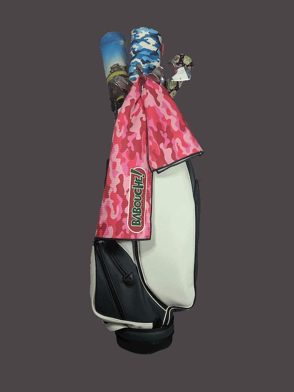 pink camo golf towel