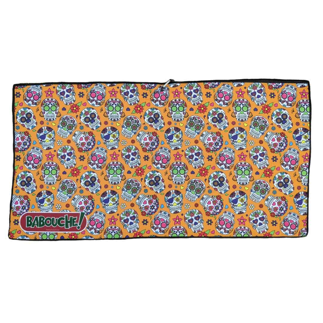 Orange Sugar Skull Golf Towel
