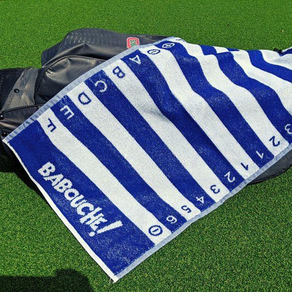 blue golf swing alignment towel