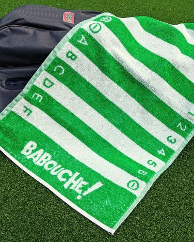 green golf swing alignment towel