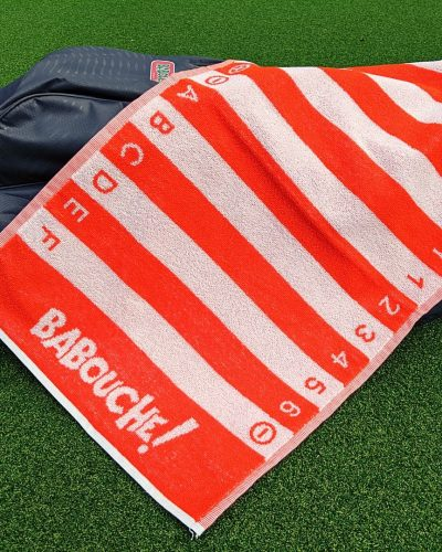 orange golf swing alignment towel