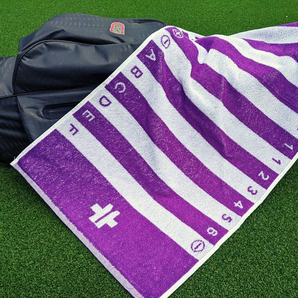 purple golf swing alignment towel