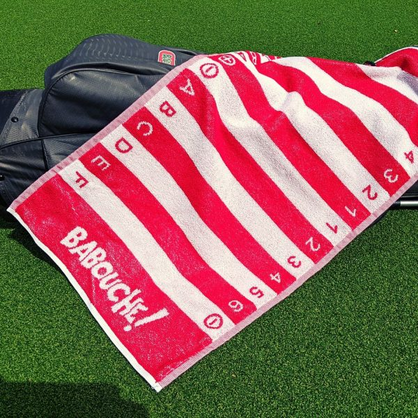 red golf swing alignment towel