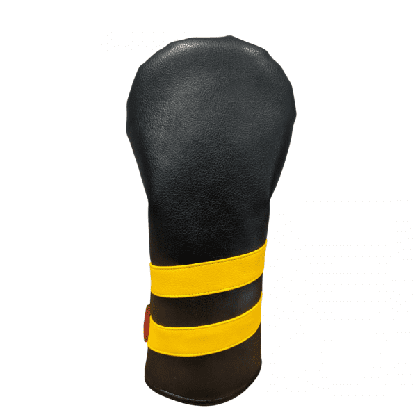 black and yellow striped head cover