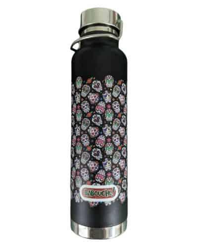black sugar skull water bottle