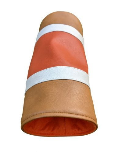 orange and tan striped can head cover