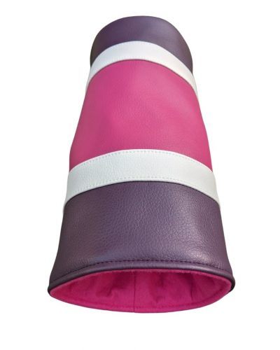 pink and purple striped can head cover