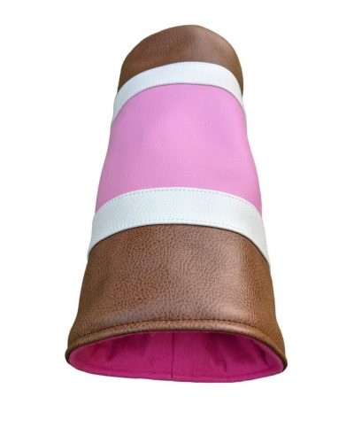 pink and tobacco striped can head cover