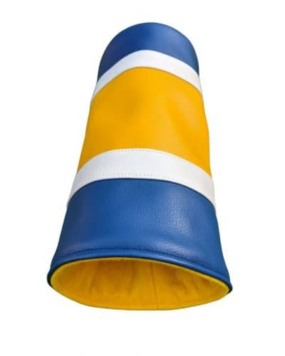 yellow and blue striped can head cover